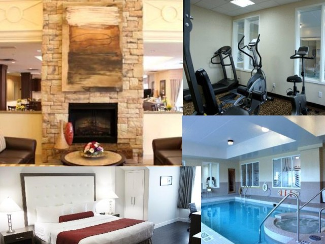 The lobby, fitness room, bedroom with king sized bed, and pool/hot tub/sauna area.