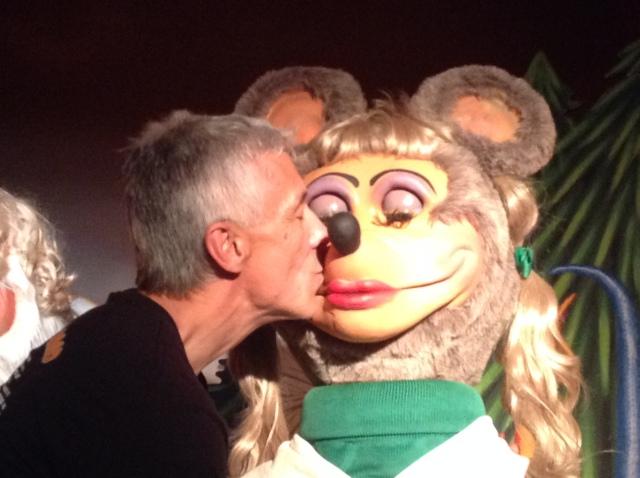 My dad kissing Mitzi.