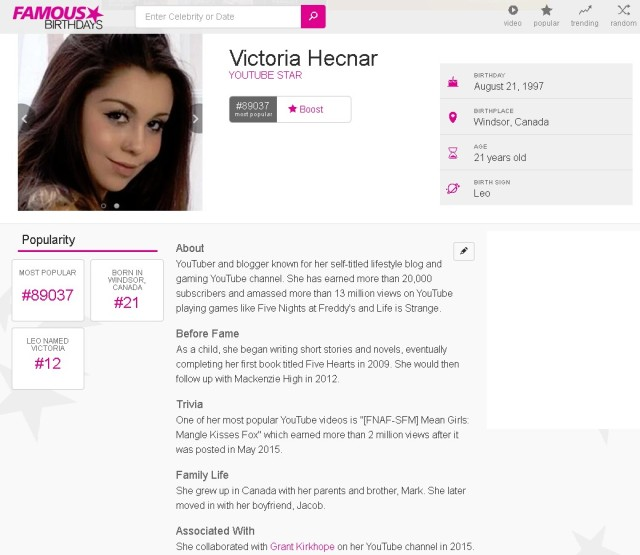 Famous Birthdays - Victoria Hecnar